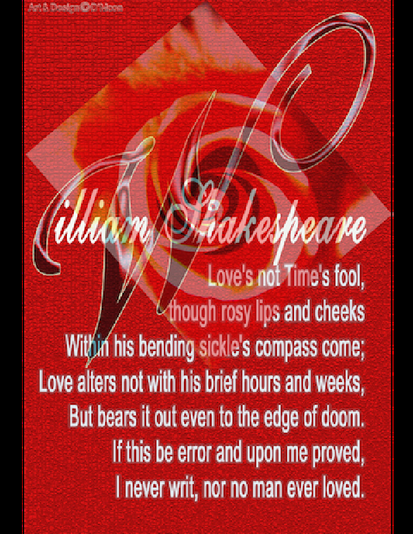 "Shakespeare ""Love's not Time's fool"""